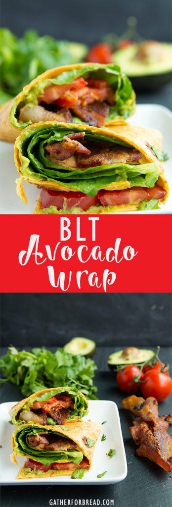 BLT Avocado Wrap - Easy , 5 ingredients guacamole blt wrap. My favorite!   gatherforbread.com