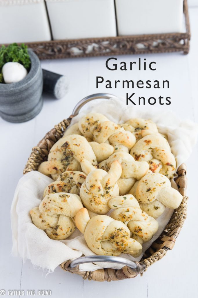 Garlic Parmesan Knots - gatherforbread.com