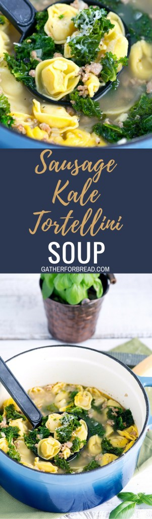 Sausage Kale Tortellini Soup – Savory soup made with Italian sausage, green healthy kale, cheese tortellini makes a perfect lunch or dinner that's ready in 30 minutes.