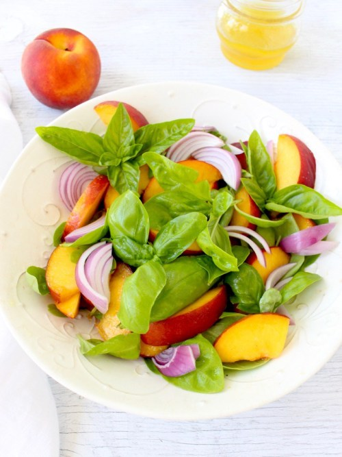 Basil-Peach-Salad-Recipe-with-Honey-Lemon-Vinaigrette-Prosciutto-di-Parma