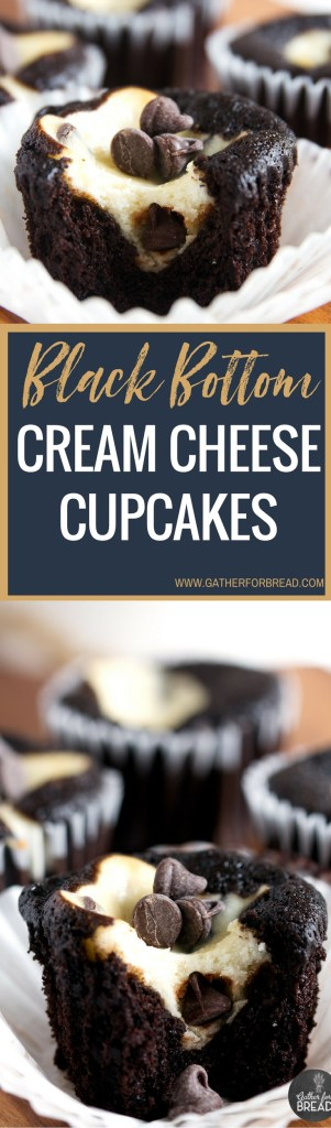 Black Bottom Cream Cheese Cupcakes - Best Easy recipe for dark chocolate cupcakes filled with a cream cheese chocolate chip filling. These cakes are moist, decadent and delicious!