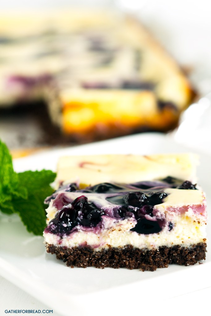 Blueberry Swirl Chocolate Cheesecake Bars