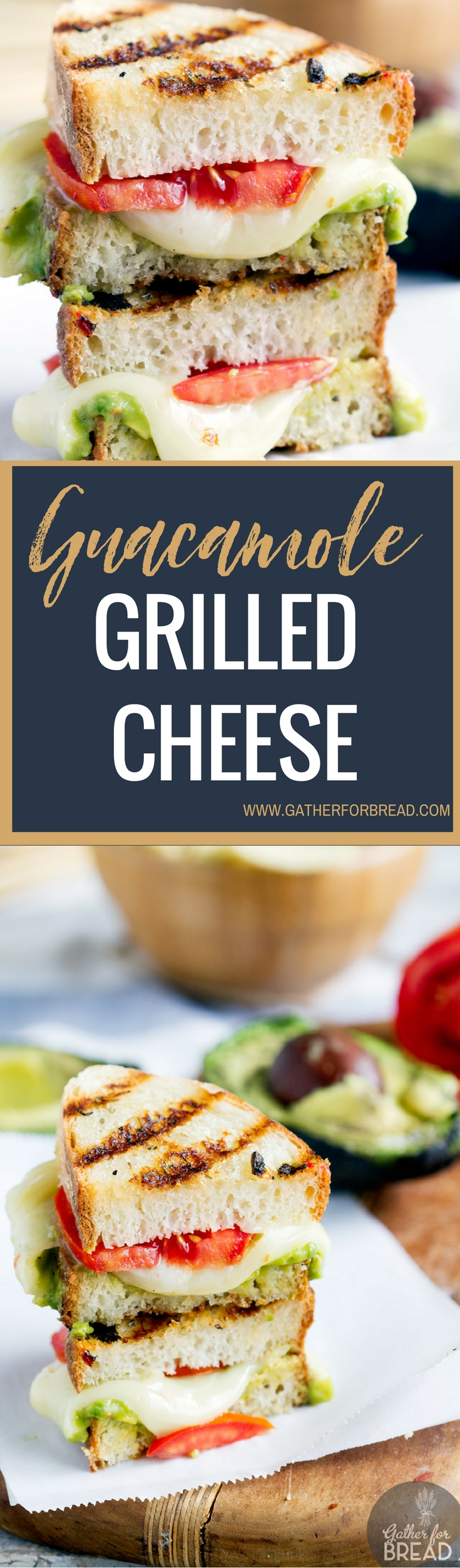 Guacamole Grilled Cheese - Grilled cheese sandwich stuffed with delicious cheese and the fresh taste of avocado and tomato. ONE of my FAVORITE sandwiches!
