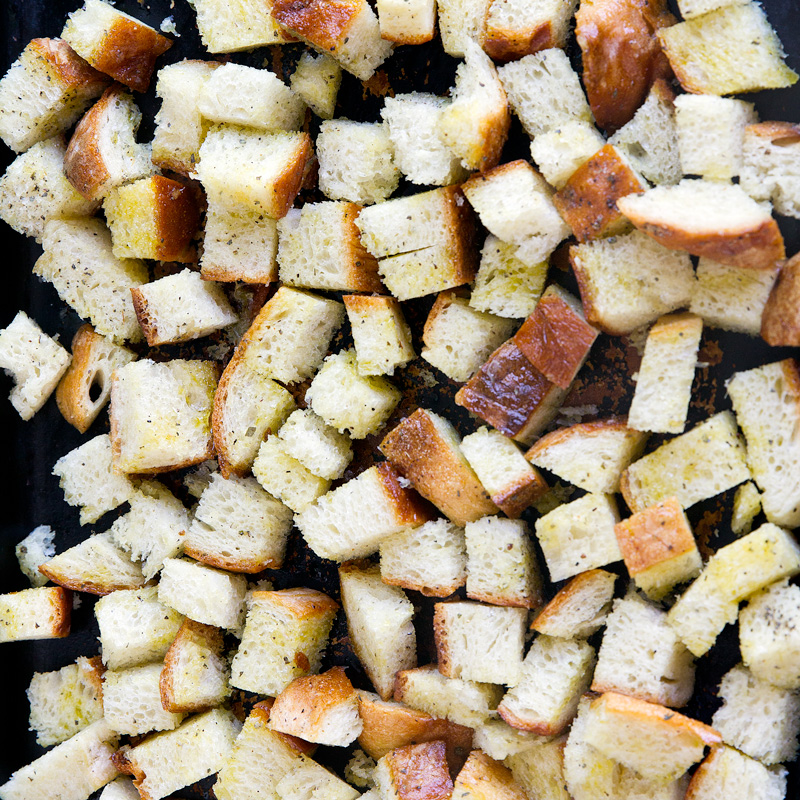 Homemade Garlic Parmesan Croutons - How to make croutons at home using stale bread. So easy and much more flavor than the store bought.