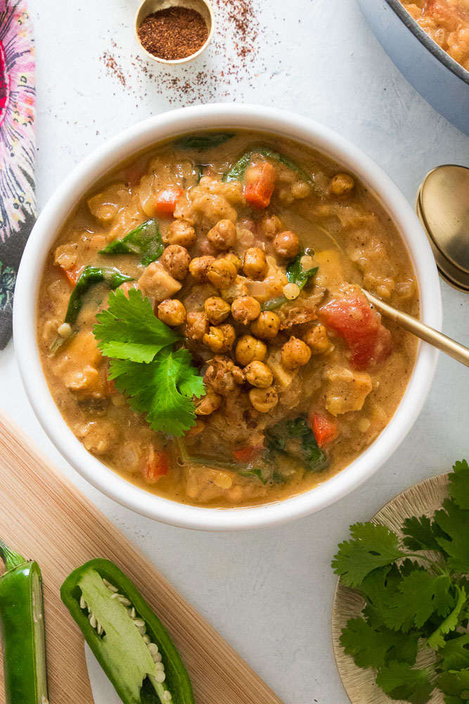 Spicy-Red-Lentil-Veggie-Stew-with-Chickpea-Croutons-4