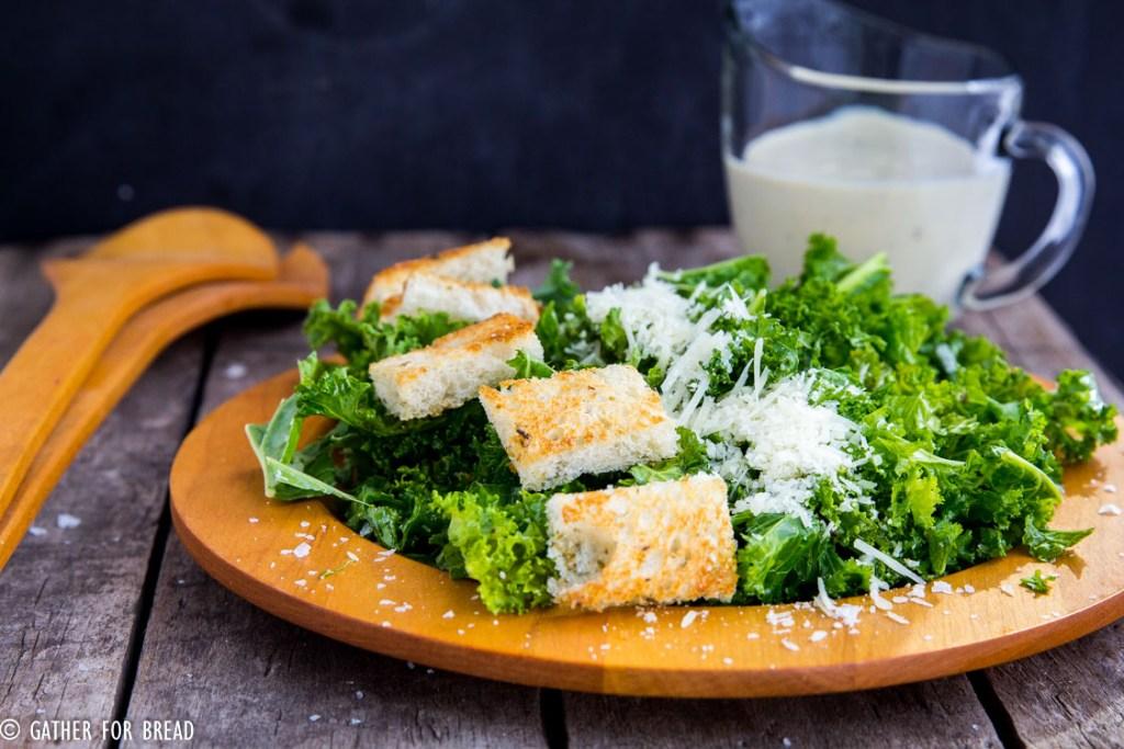 Kale Caesar Salad Greek Yogurt Dressing