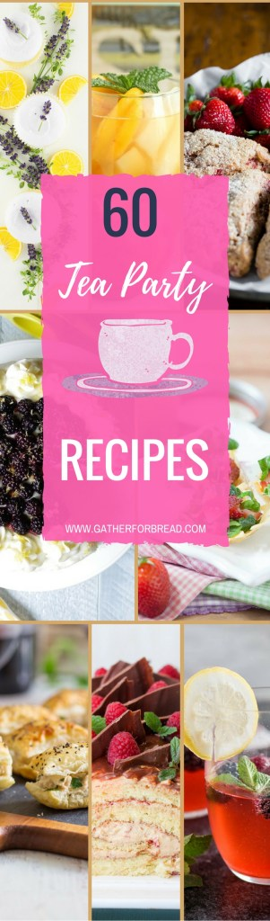 Tea Party Recipes - Featuring a round up of 60 food ideas for tea parties. Bites, little eats, appetizers, mini sandwiches, scones, desserts and more. A collection of lots of recipes to pull off a fun tea party.