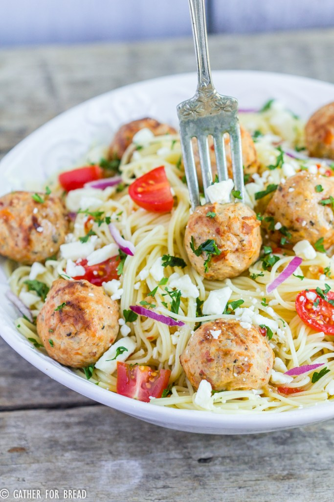 Angel Hair Pasta Chicken Meatballs