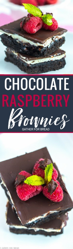 Chocolate Raspberry Brownies - Chocolate brownies layered with cream filling raspberry jam and topped with semisweet chocolate. Delicious bars are the best with a cream cheese layer and delicious raspberry jam. srcset=