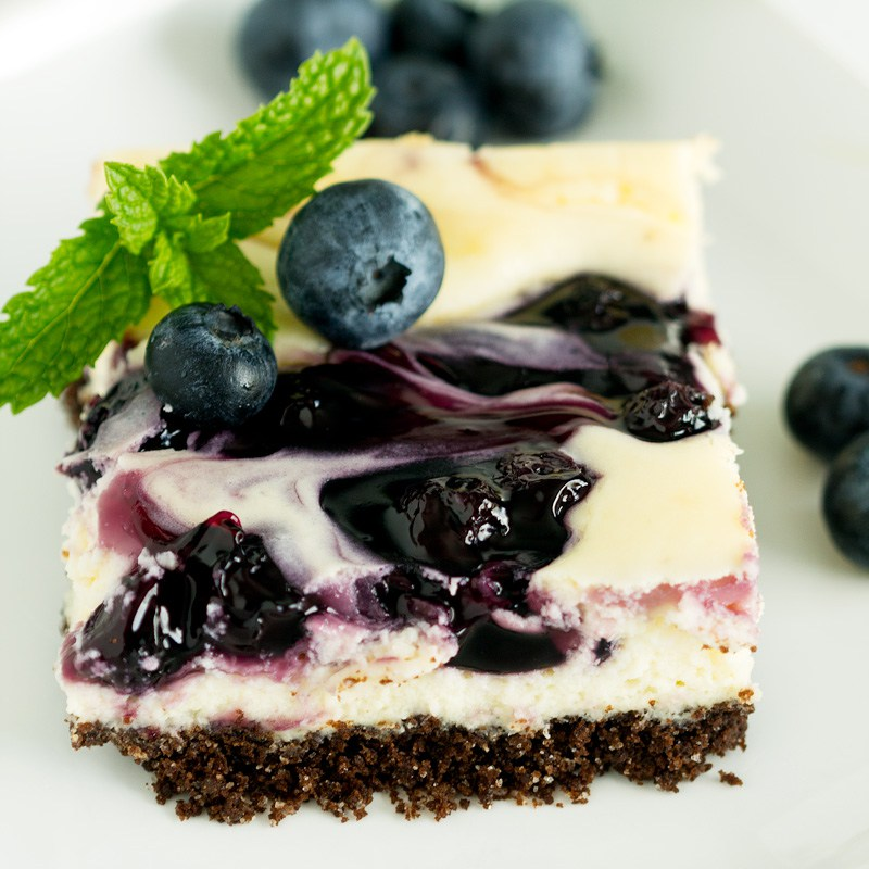 Blueberry Swirl Cheesecake Bars
