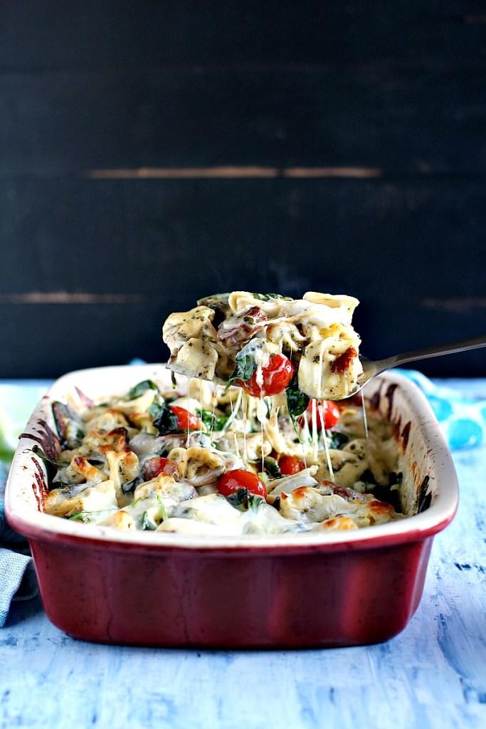 Sausage Pesto Tortellini Casserole