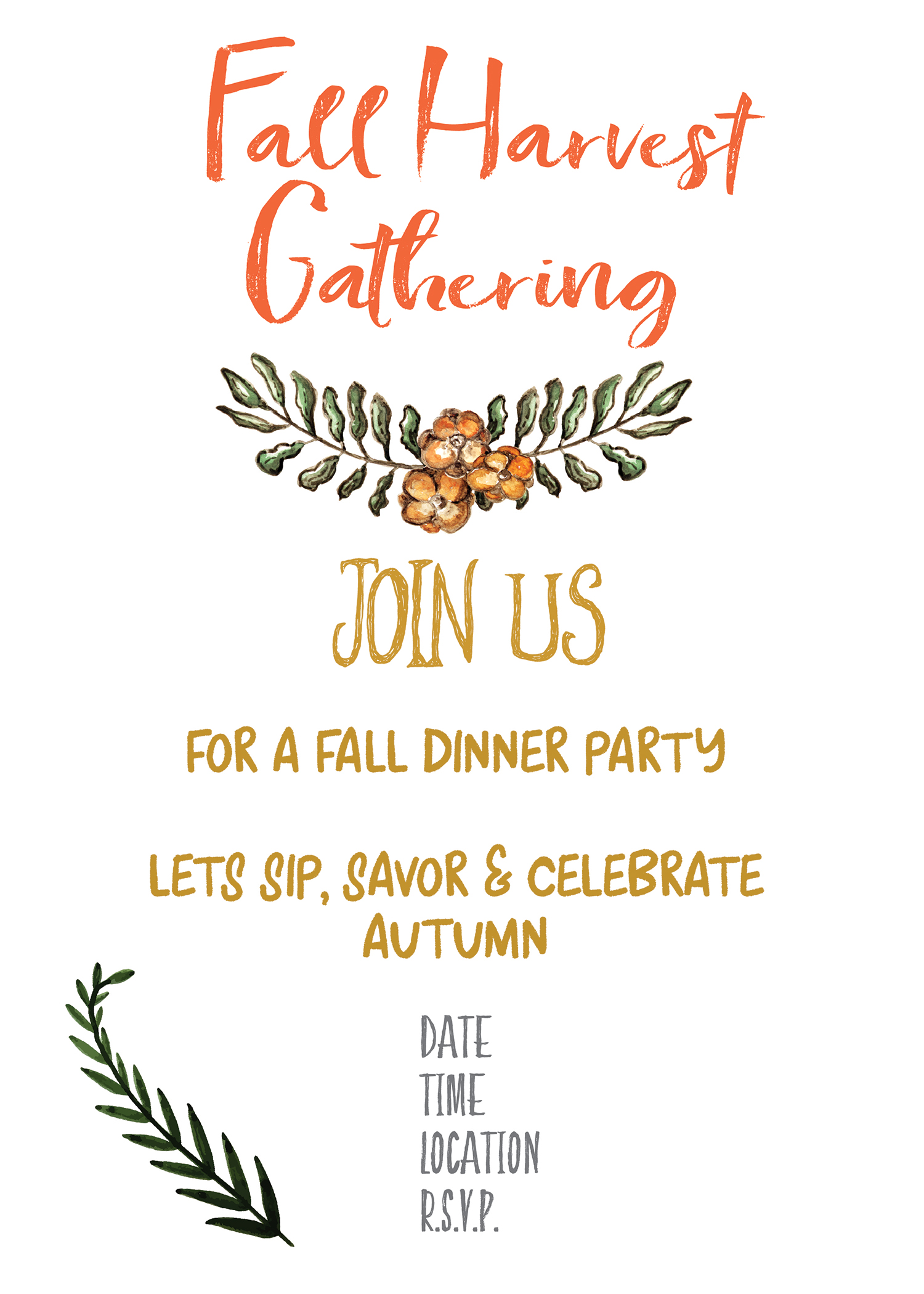 Fall Harvest Party Invitation Printable