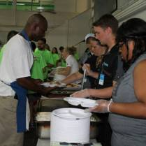 Some people from KLOVE radio station serving meals at the New Orleans Rescue Mission