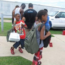 Backpack giveaway in with Desire Fellowship