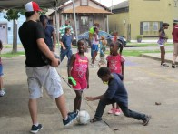 Playing soccer at Jesus Project in Hollygrove