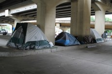 Some people have tents they are living in. These guys are not at home at present. They are probably working. Many homeless people do work, but they don't have good credit or the other credentials they need to get an apartment. Or their jobs are temporary.