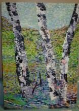 J's beautiful paintings of birch trees.