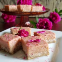 Rhubarb-Rose Pannacotta Squares: Keto Darlings!