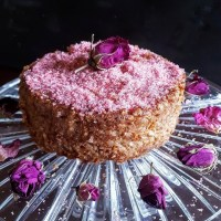 Rosy Rice Pudding Cake:  A Dried Rose Petal Extravaganza
