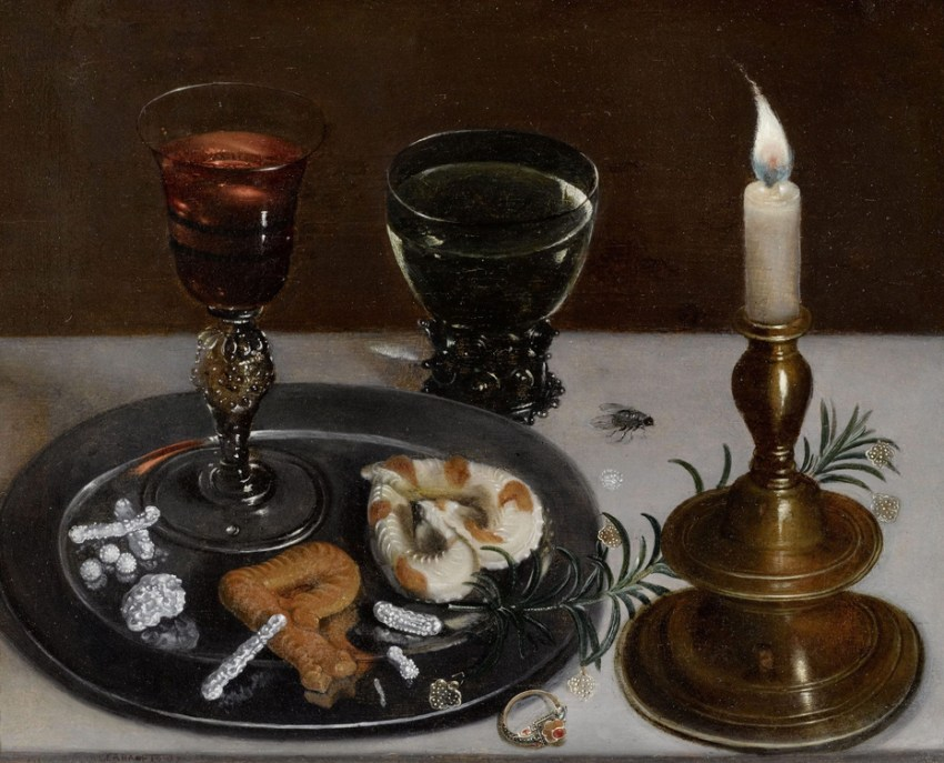 clara-peeters-still-life-with-dainties-rosemary-wine-jewels-and-a-burning-candle-1607