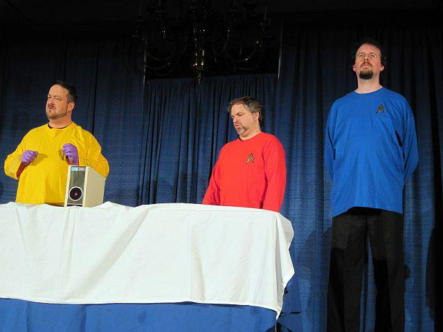 Kirk, Scotty, and Spock try to fix HAL-2000 in a Farpoint 2013 Luna-C skit.
