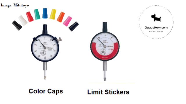 color cap and limit sticker of a dial gauge