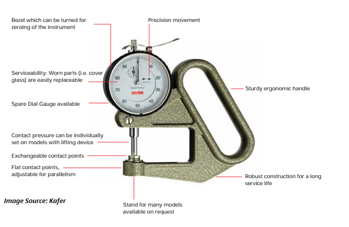 parts of dial thickness gauge