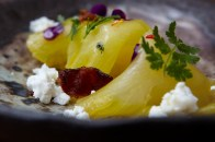 compressed pineapple bacon goat cheese chili