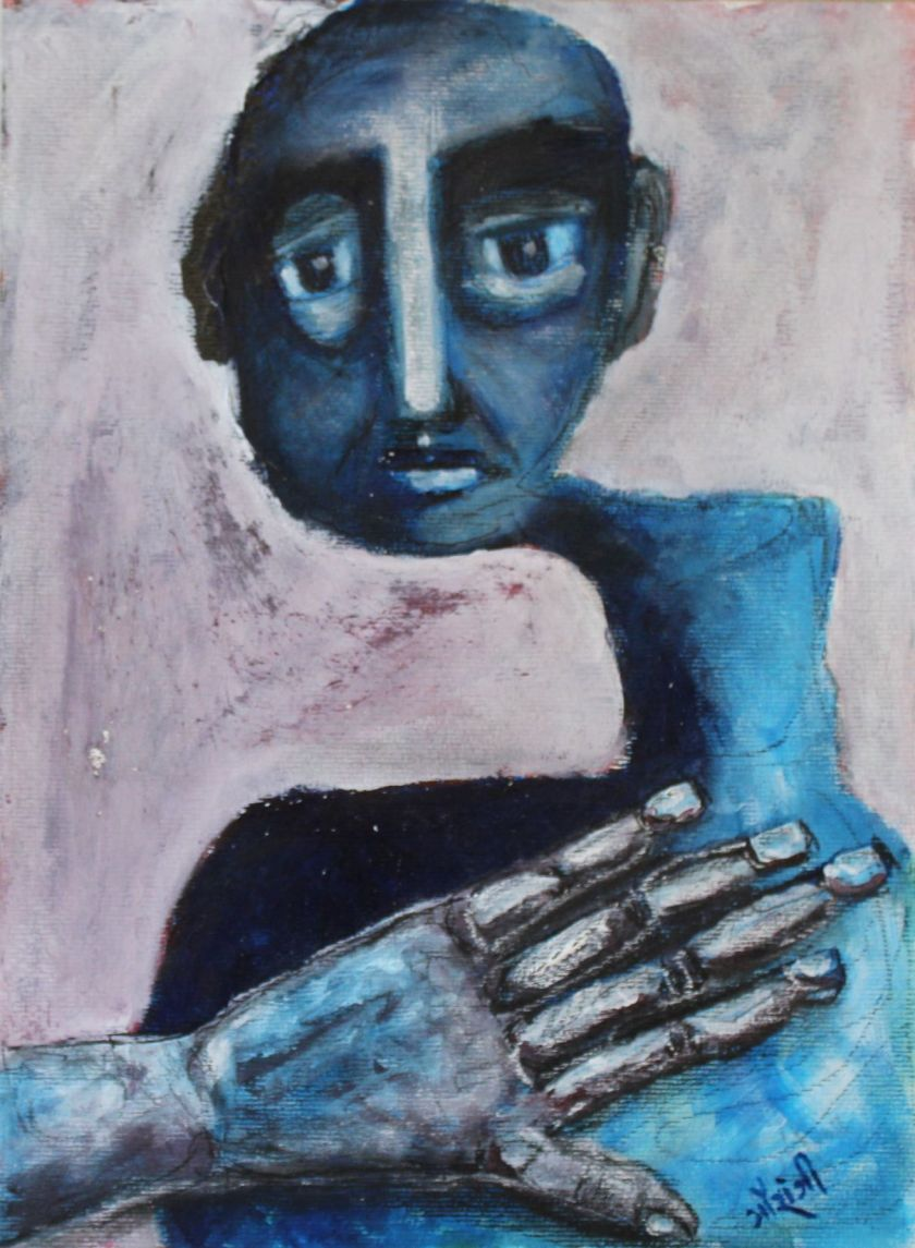 Title: Disconnected from the Self Medium: Acrylic and charcoal on watercolour paper Size: 11.7*16.5 inches / 29.7*41.91 cm (2017) Artist: gaurangi mehta shah