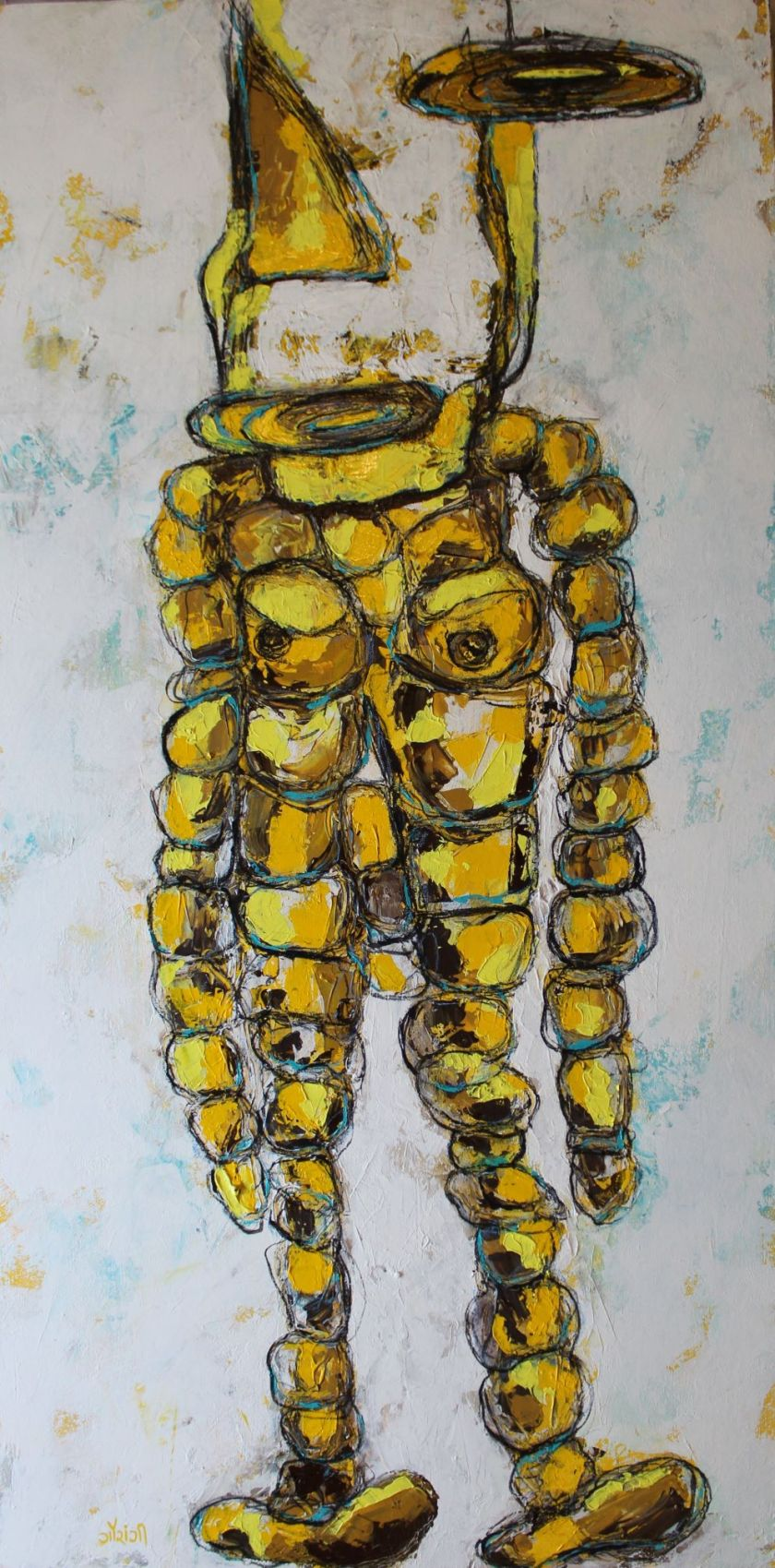 Title: The fragmented Self Medium: Acrylic and charcoal on canvas Size: 41.5*42 inches / 105.41*106.68 cm (2018) Artist: gaurangi mehta shah