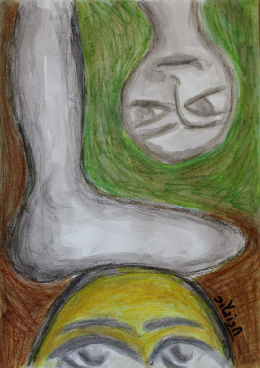 Title: I am not your doormat Medium: Watercolour crayons on watercolour paper Size: 11.7*16.5 inches (2017) Artist: gaurangi mehta shah
