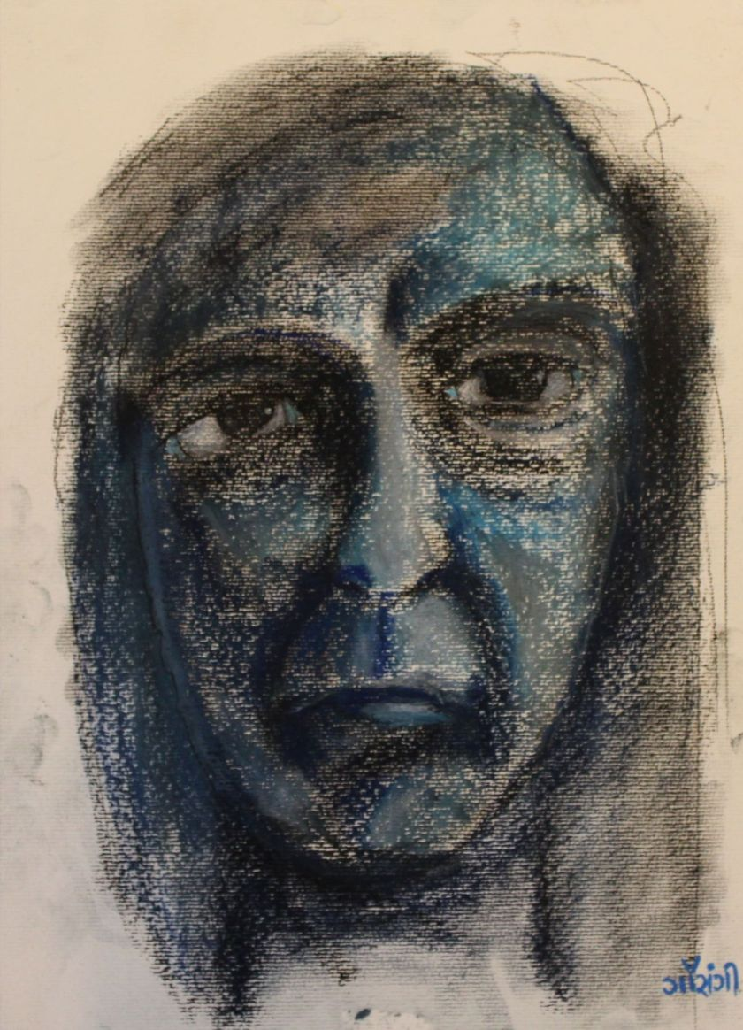 Title: Self-portrait Medium: Pastel and charcoal on watercolour paper Size: 11.7*16.5 inches (2017) Artist: gaurangi mehta shah
