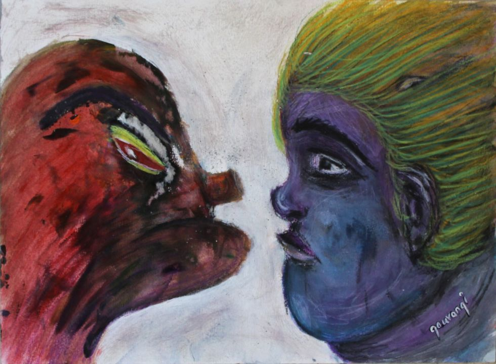 Title: You are your own critic Medium: Acrylic, watercolour crayons and charcoal on watercolour paper Size: 16.5*11.7inches / 41.91 *29.7cm (2017) Artist: gaurangi mehta shah