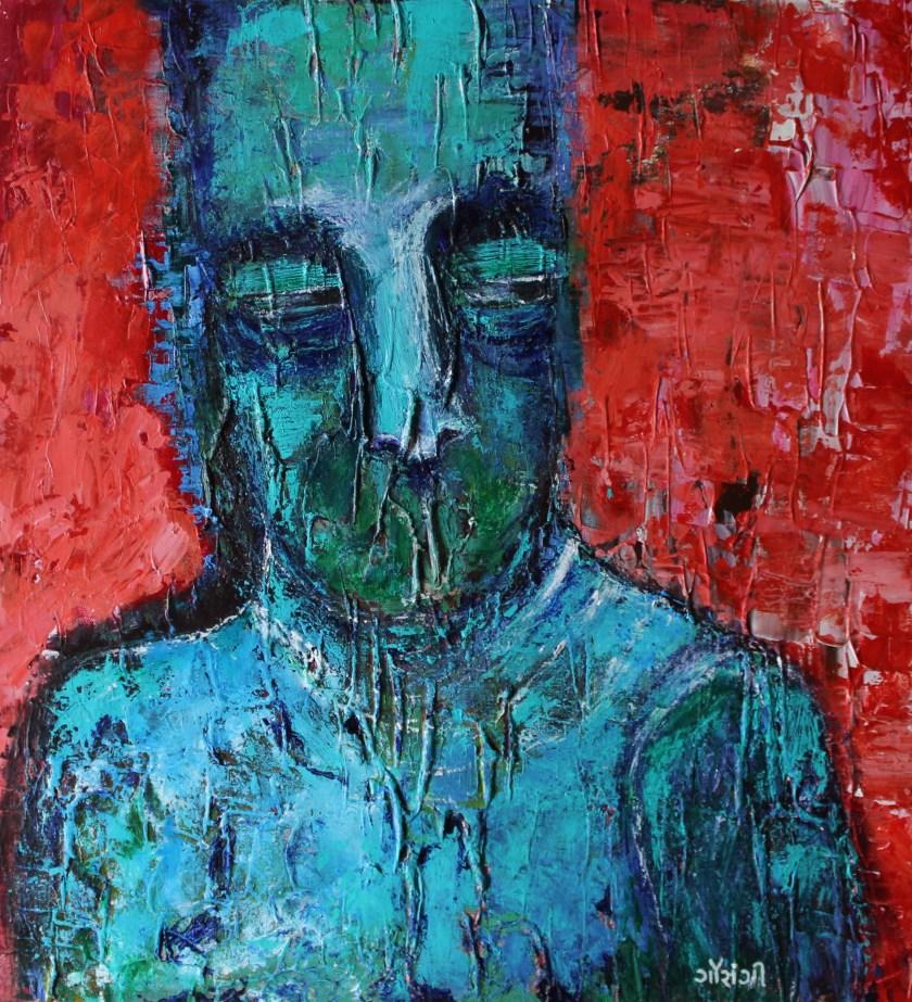 Title: Momentarily in avoidance  Medium: Acrylic on canvas Size: 21.5*24 inches (2019) Artist: gaurangi mehta shah