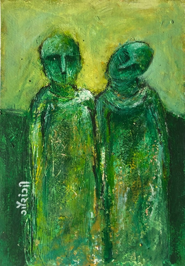 Title: Joined at the hip. Medium: acrylic and charcoal on watercolour paper. Size: 5.8*8.3 inches, (2020). Artist: gaurangi mehta shah