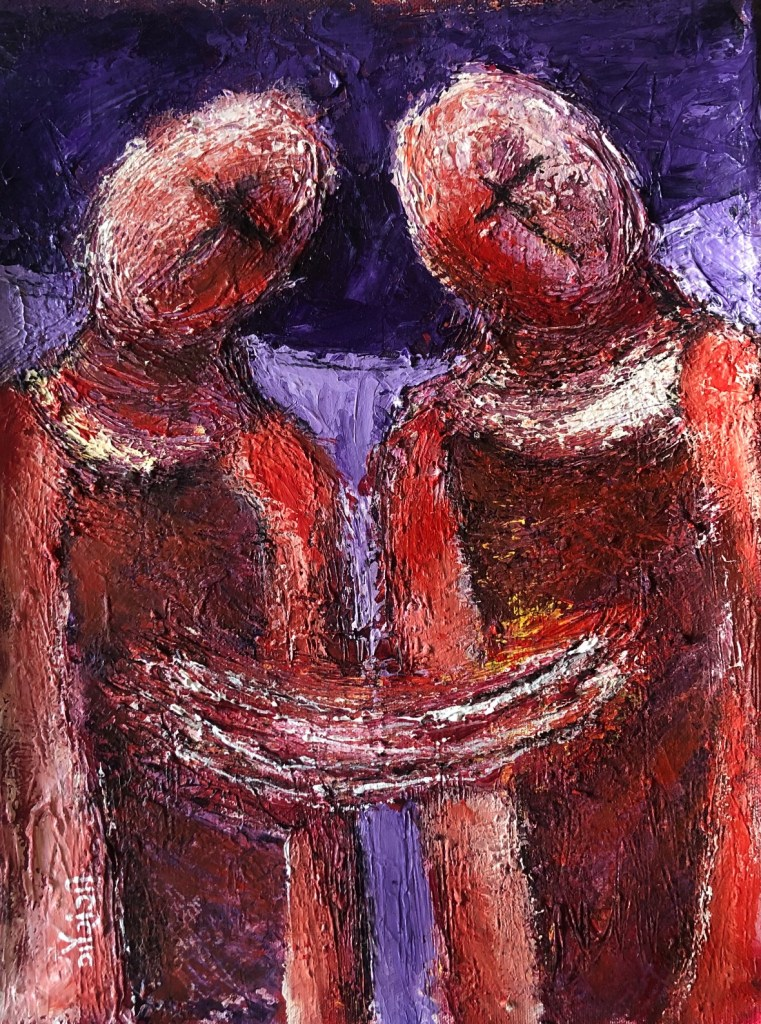 Title: The umbilical connection. Medium: acrylic with charcoal on canvas. Size: 12.5*15.5 inches, (2020). Artist: gaurangi mehta shah.