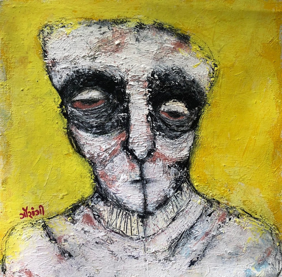 Title: Nonchalant yet affected. Medium: mixed media on canvas. Size: 12*12 inches, (2020). Artist: gaurangi mehta shah
