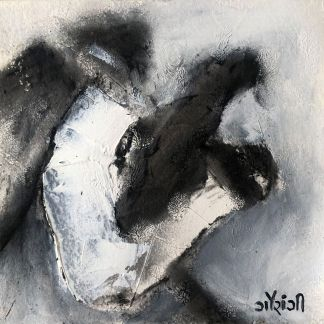 Title: Imprints of my mind fog. Medium: acrylic with charcoal on watercolour paper. Size: 5*5 inches (2021) Artist: gaurangi mehta shah