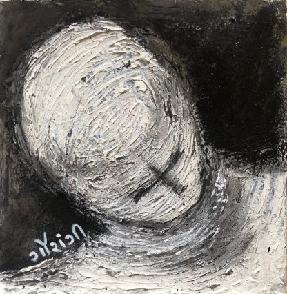 Title: The rings of contemplations. Medium: acrylic with charcoal on watercolour paper. Size: 6*6 inches (2021) Artist: gaurangi mehta shah. Mini-series: lost and found