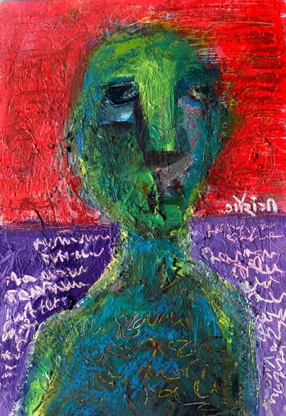Title: writing it off. Materials: mixed media on watercolour paper. Size: 8.3*5.8 inches, (2021). Artist: gaurangi mehta shah. Series: hiding behind my inner walls.