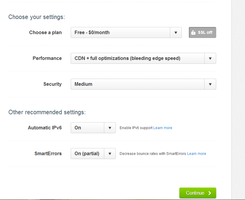 choose the following cloudflare settings