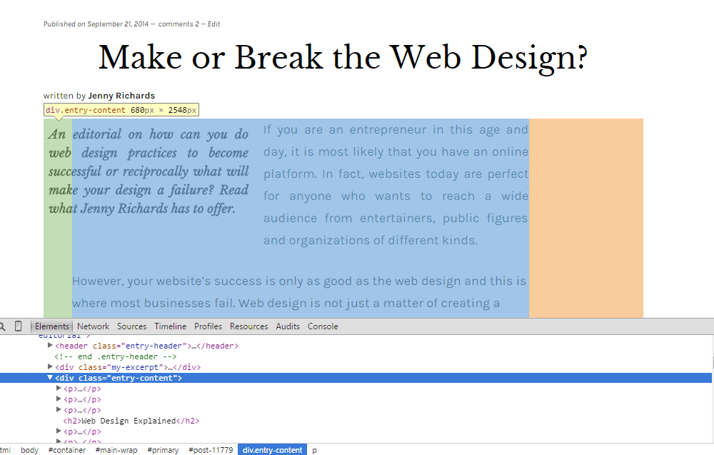 inspect element to get post class