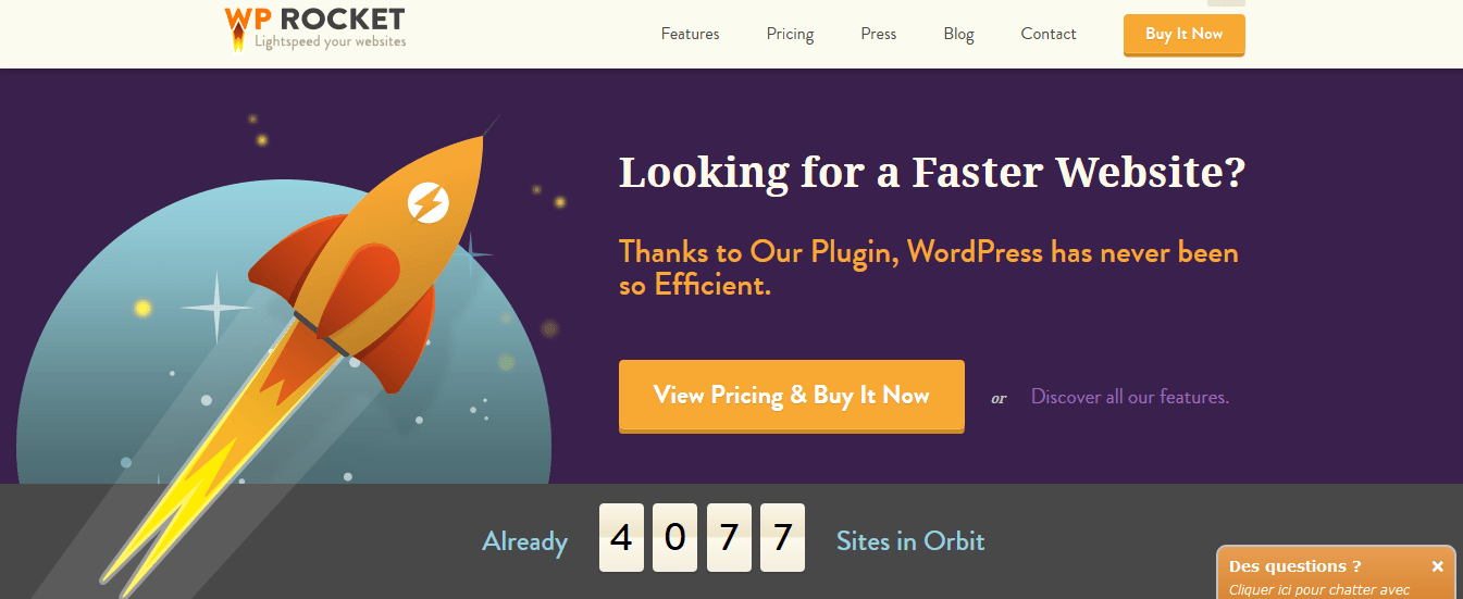 wp rocket homepage