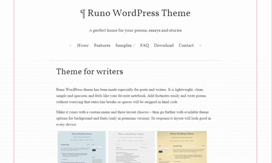Runo Lite WordPress Theme for writers and poets