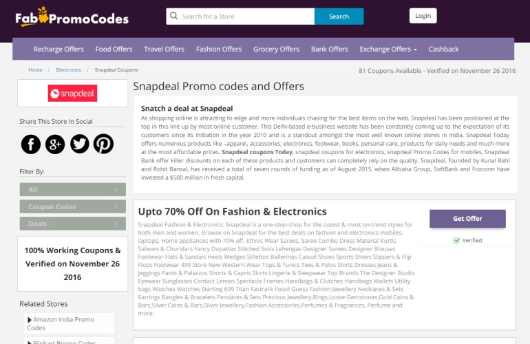 Snapdeal App offers on Fab Promocodes