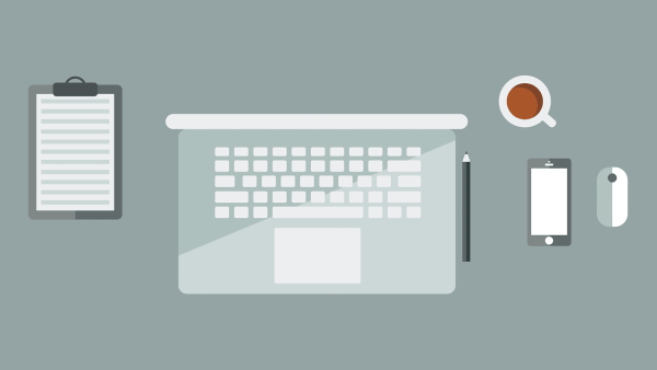 laptop, workspace, flat design