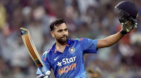 कोलकाता स्थित ईडन गार्डन्स मैदान पर खेलते भारतीय बल्लेबाज रोहित शर्मा।
