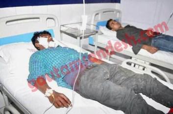 अस्पताल में भर्ती धमाके में हुए घायल।