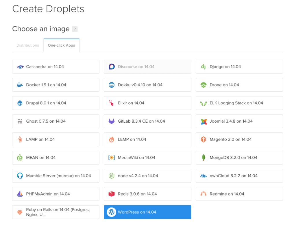 One-click Apps on DigitalOcean