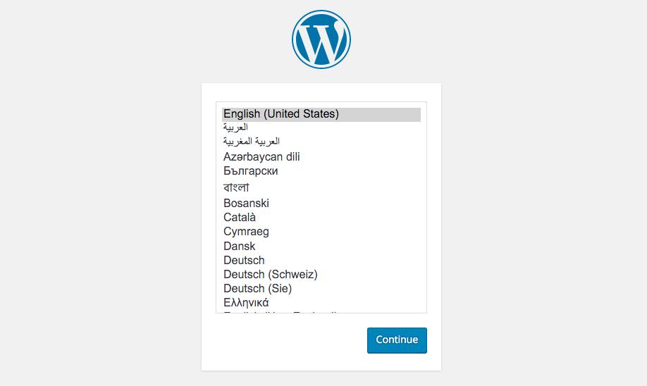 Select language WordPress install